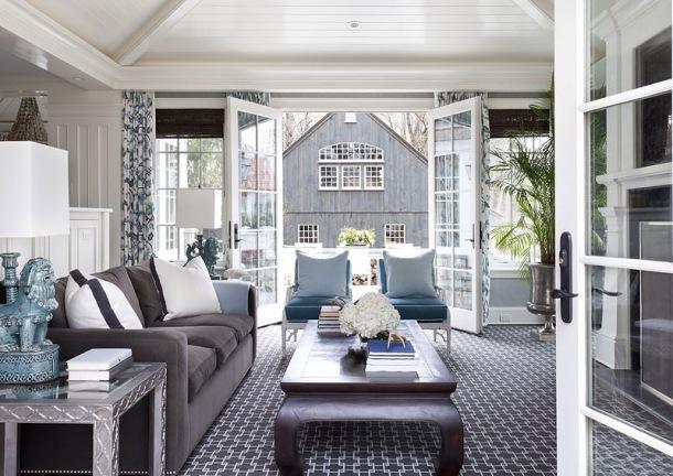 Srebrno niebieski salon z jadalni zdj cie w serwisie for New england interior designs