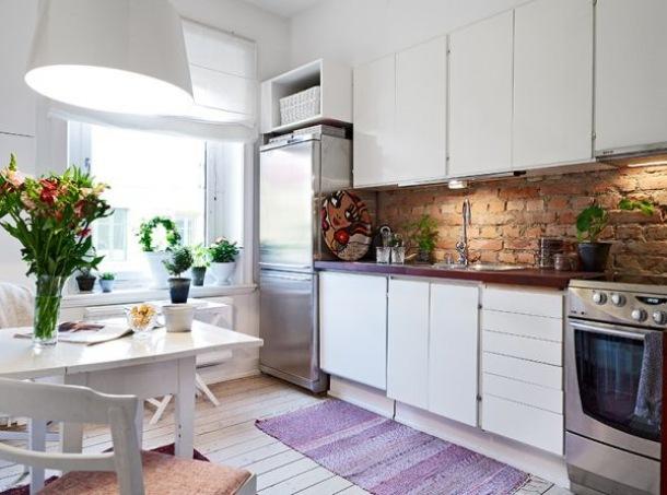 Czerwona cegla w bialej kuchni  zdjęcie w serwisie   -> Kuchnia I Cegla