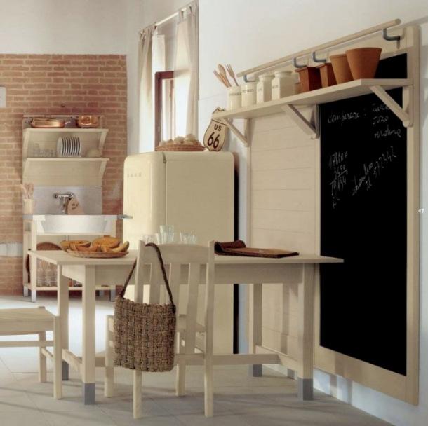 pomysl ciekawy na panel de ścienny z polca w kuchni ze ściana cegły z