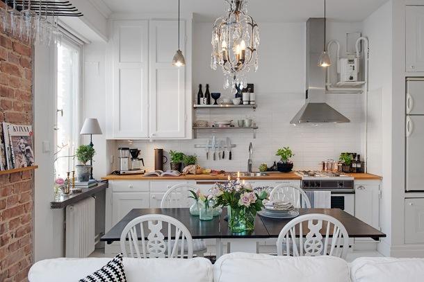 otwata kuchnia z jadalnią i salonem w małym mieszkaniu   -> Kuchnia Jadalnia Salon Razem