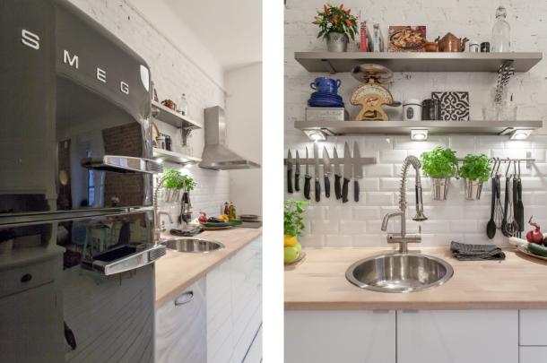 skandynawska kuchnia z białą cegłą i glazurą na ścianie  zdjęcie w serwisie