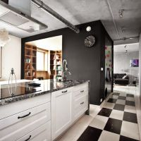 Industrialny styl w kuchni z podogą w biało czarne kwadraty