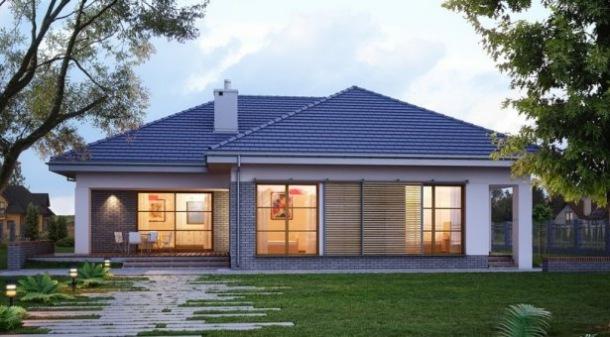 du y dom parterowy z dwustanowiskowym gara em projekty. Black Bedroom Furniture Sets. Home Design Ideas