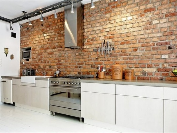 Steenstrips Achterwand Keuken : Exposed Brick Wall