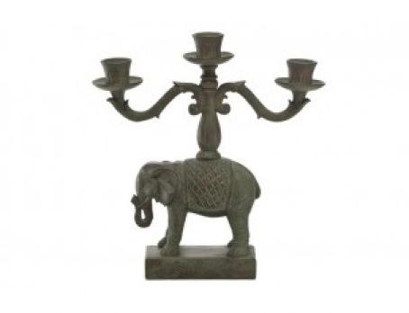Świecznik na 3 świece słoń w stylu kolonialnym