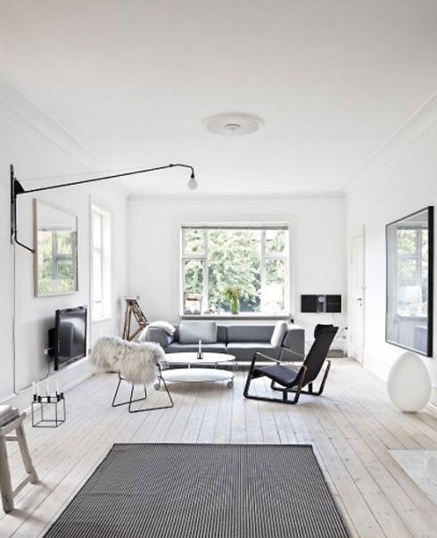 bia o szary salon w skandynawskim stylu zdj cie w serwisie 19196. Black Bedroom Furniture Sets. Home Design Ideas
